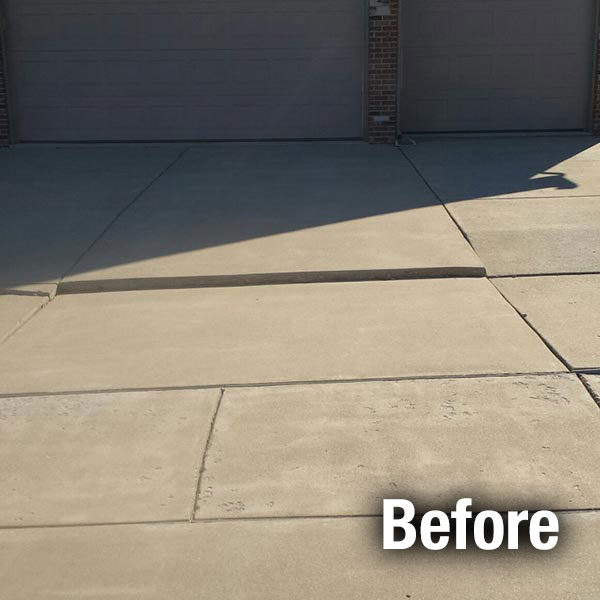Kansas City Concrete Driveway Leveling Before